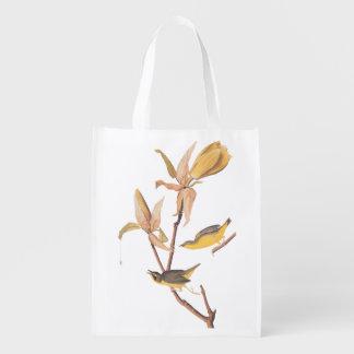 Kentucky Warbler Audubon Birds and Magnolia Flower Reusable Grocery Bag