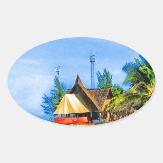 kenya africa beach sand sea ocean water oval sticker