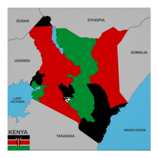 kenya country political map flag poster