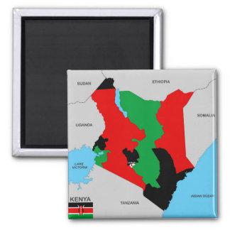 kenya country political map flag square magnet