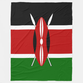Kenya Flag Fleece Blanket