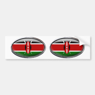 Kenya Flag in Glass Oval Bumper Sticker