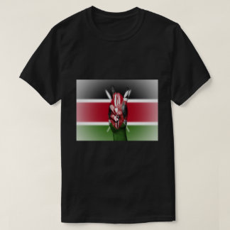 Kenya Flag Peace Sign - Patriotic T-Shirt