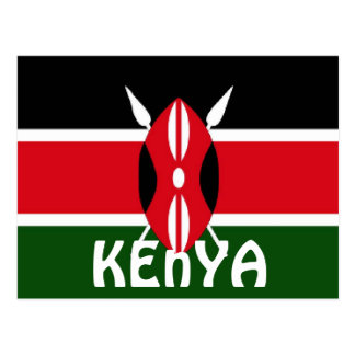 Kenya flag postcard