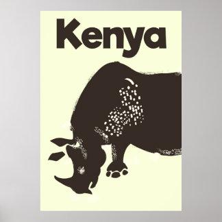 Kenya Rhino African vintage poster