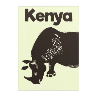 Kenya Rhino African vintage poster Acrylic Wall Art