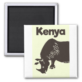 Kenya Rhino African vintage poster Square Magnet