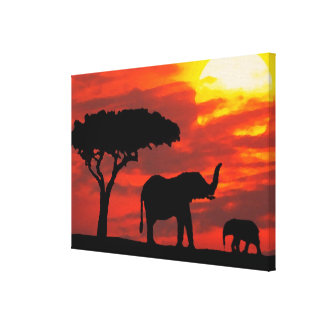 Kenya Safari Elephants Wildlife Sunset Watercolor Canvas Print