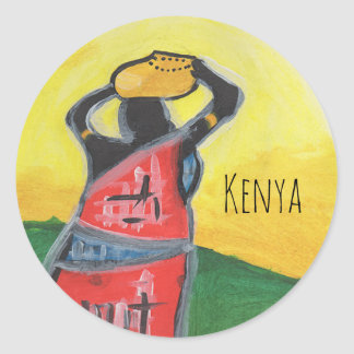 Kenyan Woman Classic Round Sticker