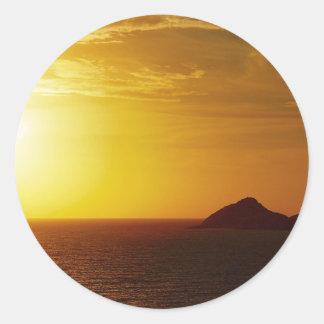 Keppel Bay sunrise round sticker