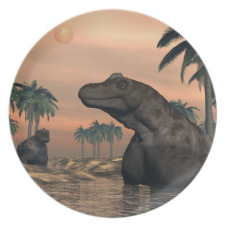 Keratocephalus dinosaurs - 3D render Dinner Plates