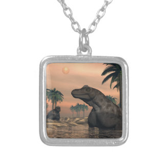Keratocephalus dinosaurs - 3D render Silver Plated Necklace