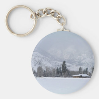 Keremeos BC ranch in Winter Basic Round Button Keychain