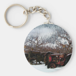 Keremeos Orchard in Winter Basic Round Button Keychain
