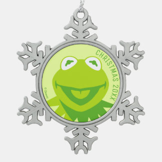 Kermit the Frog Smiling Snowflake Pewter Christmas Ornament
