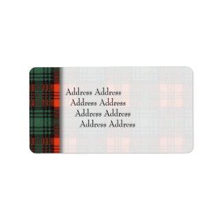 Kerr clan Plaid Scottish tartan Label