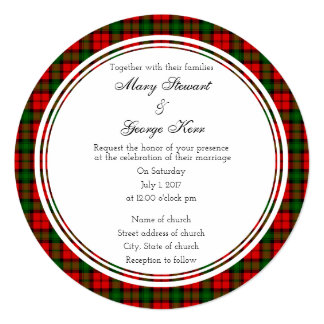 Kerr Scottish Wedding Round Invitation
