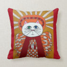 Kerri Ambrosino Art Pillow Cat Angel Red Gold