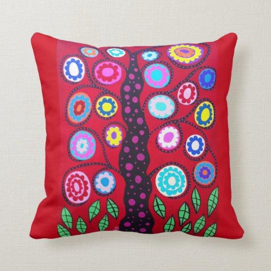 Kerri Ambrosino Art Pillow Tree of Life Red Flower
