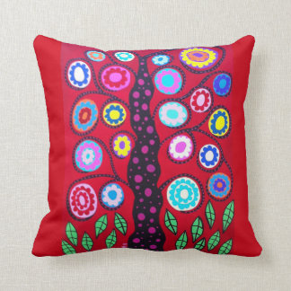 Kerri Ambrosino Art Pillow Tree of Life Red Flower