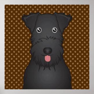 Kerry Blue Terrier Cartoon Paws Poster
