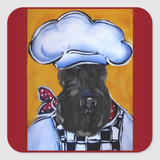 Kerry Blue Terrier Chef Square Sticker