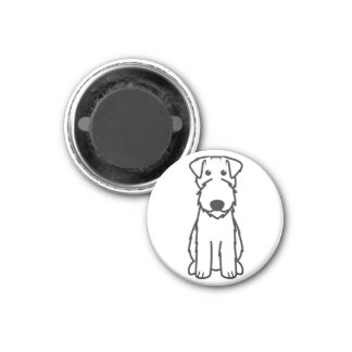 Kerry Blue Terrier Dog Cartoon 1 Inch Round Magnet