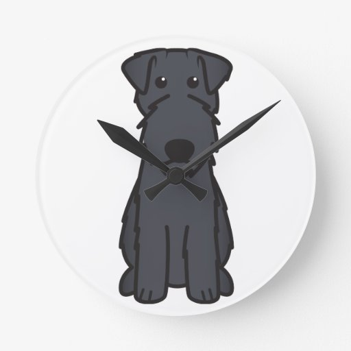 Kerry Blue Terrier Dog Cartoon Round Wall Clock