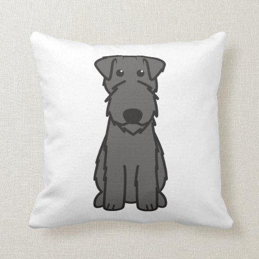 Kerry Blue Terrier Dog Cartoon Throw Pillows