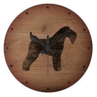 Kerry Blue Terrier Silhouette Rustic Wallclocks