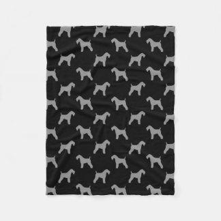 Kerry Blue Terrier Silhouettes Pattern Fleece Blanket