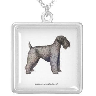 Kerry Blue Terrier Square Pendant Necklace