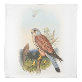 Kestrel Falcon John Gould Birds of Great Britain Duvet Cover