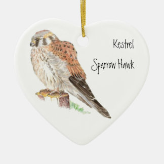 Kestrel Sparrow Hawk, Watercolor Bird Animal Ceramic Ornament