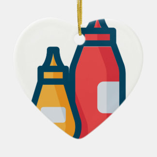 Ketchup and Mustard Ceramic Ornament