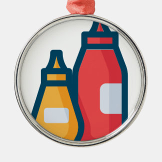 Ketchup and Mustard Metal Ornament