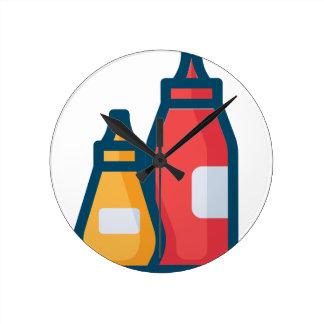 Ketchup and Mustard Round Clock