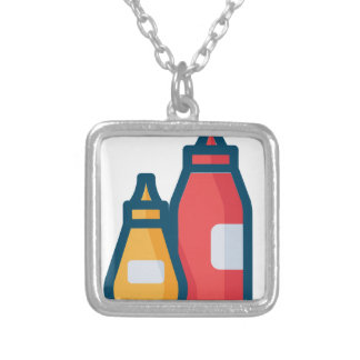 Ketchup and Mustard Silver Plated Necklace