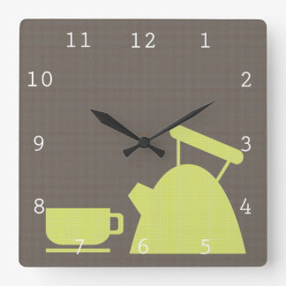 Kettle and Tea Cup Square Wall Clock