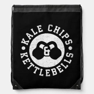 Kettlebells and Kale Chips - Funny Novelty Workout Drawstring Bag