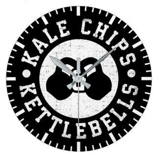 Kettlebells and Kale Chips - Funny Novelty Workout Large Clock