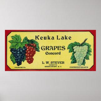 Keuka Lake Concord Grapes Label Poster