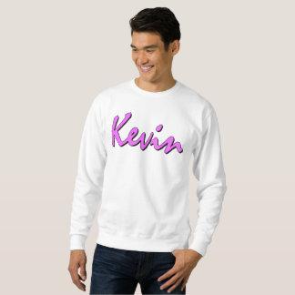 Kevin Pink Logo On White Sweatshirt
