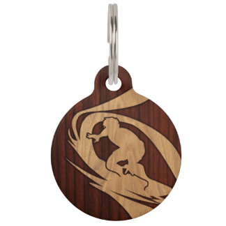 Kewalos Hawaiian Surfer Faux Wood Pet Name Tags
