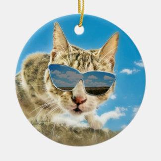 Kewl Kat wearing Sunglassses Ceramic Ornament