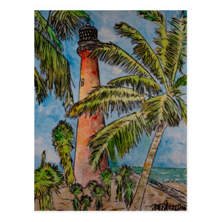 key biscayne cape florida lighthouse postcard