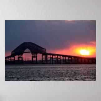 Key Bridge Sunset Print - Baltimore