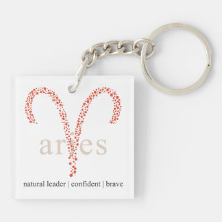 Key chain: Astrology Aries Sign Double-Sided Square Acrylic Keychain