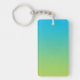 Key Chain: BLUE GREEN OMBRE Double-Sided Rectangular Acrylic Keychain