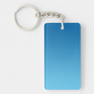 Key Chain: DARK BLUE OMBRE Double-Sided Rectangular Acrylic Keychain